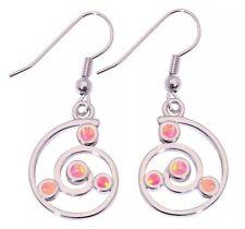Stunning Style Fashion Pink Fire Lab Opal Silver Drop Dangle Earrings