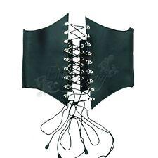 Real Leather Women High Waist Harness Cincher Belt Corset Adjustable Size BLACK