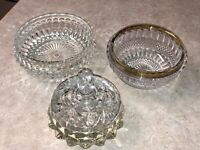 Lot of 3 Vintage Cut Glass Bowls - Candy/Nut Dishes - Gold Trim - Varied Designs