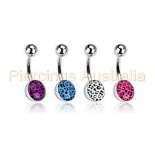 4 x Leopard Ball Belly Button Bar Navel Rings Bulk Pack Body Piercing Jewellery