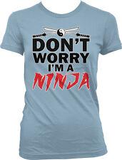 Don't Worry I'm A Ninja Sword Yin Yang Warrior Katana Fight Jump Juniors T-Shirt