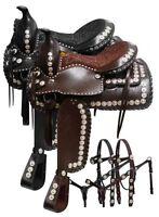 "Parade Saddle SET Silver Lacing Conchos Black or Brown 16"" 17"" NEW"