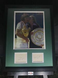 Jimmy Connors Chris Evert Signed Auto 12x16 Framed Photo  Cuts JSA COA Wimbledon