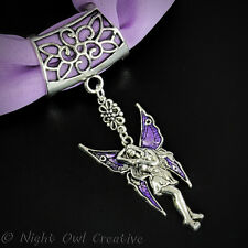 Scarf Clip, Scarf Ring, Retro Antique Silvertone Fairy, Purple Enamelled Wings