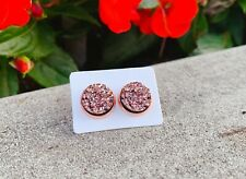 Double Rose Gold Druzy Studs,12mm resin Drusy, large, Crystal, handmade Earrings