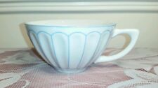 """HARBOR EAST COFFEE / TEA CUP, BLUE PETALS ON WHITE.  """"LET US ENTERTAIN YOU"""" EXC."""