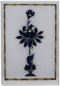 """12""""x9"""" White Rectangle Marble Table Top Lapis Marquetry Floral Inlay Decors W531"""