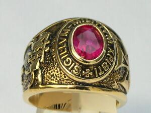 9x7 mm Knights Templar Masonic Mason July Red Ruby CZ Birthstone Men Ring 7-15