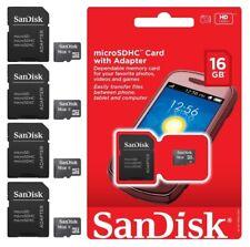 16GB Micro SD MicroSDHC SDHC Memory Card Adapter Sandisk 16G Wholesale LOT 4