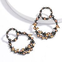 Fashion Womens Circular Crystal Earrings Geometric Dangle Drop Ear Stud Jewelry