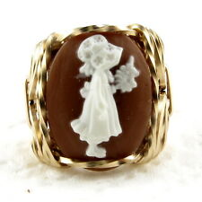 Holly Hobbie Cameo Ring 14K Rolled Gold Jewelry Brown Resin Size Selectable
