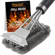 POLIGO Grill Brush and Scraper with Deluxe Handle -Safe Wire Stainless Steel BBQ