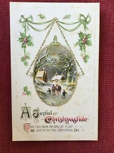 VINTAGE EMBOSSED POSTCARD CHRISTMAS GREETINGS POSTED 1913 PREOWNED