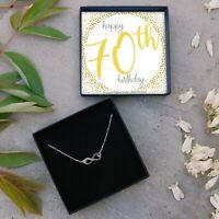 Silver Infinity Necklace 70th Birthday Gift Ladies Present Seventieth Jewellery