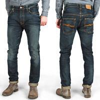 Nudie Herren Slim Skinny Fit Jeans-Hose | Tape Ted Brown Weft | Kleine Mängel