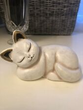 THUN Italian Ceramic Sleeping Cat Figurine Gold Ears