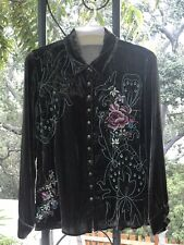 JOHNNY WAS EMBROIDERED BUTTON DOWN SHIRT SIZE PETITE MEDIUM NEW WITH TAGS