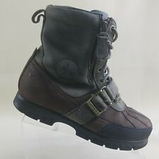 Ralph Lauren Womens Brown Leather Hiking Lace Up Zip Boots Size 8.5B #X22