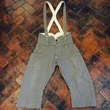 "Japanese Lee Hickory Stripe Overalls Shorts Bowlegged Railroad Style 32"" Waist"