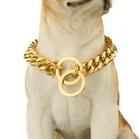 15mm Pet Dog Collars Gold Silver Miami Cuban Chain Dog Stainless Steel Necklace