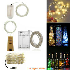 1M - 10M LED String USB Battery Copper Wire Bottle Stopper Fairy Strip Light RE