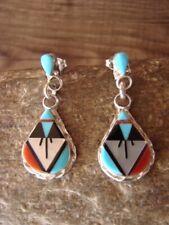 Zuni Indian Jewelry Sterling Silver Inlay Earrings - Carol Niiha