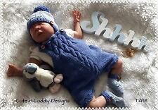 Baby /Reborn doll designer knitting pattern to knit dungarees/hat and bootees