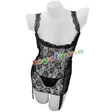 Hot Sexy Women's Erotic Lace Lingerie Sleepwear Underwear + Stocking