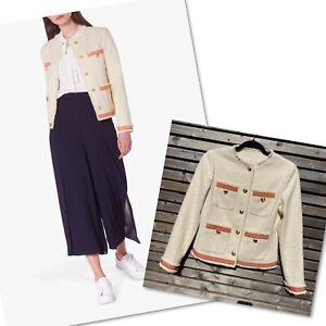 LK Bennett Size 6 Cream Tweed & Pink Ribbon Soraya Tweed Jacket BNWOT