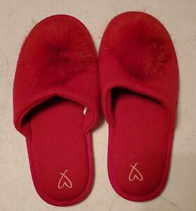 Victoria's Secret Red Pom Pom Slippers  Large 9/10 Limited Edition Slides New
