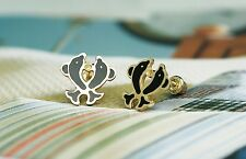 14K Yellow Gold Baby Enamel Twin Dolphin Screw-back Stud Earring for Children