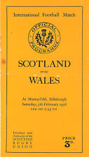 SCOTLAND v WALES 5th Feb 1938 at MURRAYFIELD RUGBY PROGRAMME