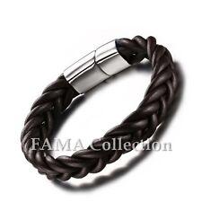 Stylish FAMA Dark Brown Leather Bracelet w/ Stainless Steel Slide Lock Closure