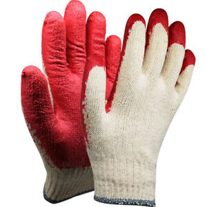 20Pairs Red Half Coated Gloves String Knit Palm Latex Dipped Nitrile Coated Work