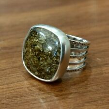 Wide Band Ring w/ Bronzite Stone Silpada R1738 Sterling Silver Ribbed & Hammered