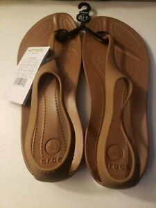 Crocs Womens SEXI Flip Thong Sandals SIZE 8 Bronze 11354-854