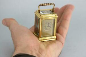 RARE SUB-MINIATURE ANTIQUE FRENCH CARRIAGE CLOCK gorge case & masked dial