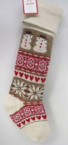 "Pottery Barn Classic Fair Isle Snowman Christmas Stocking 11x 27"" Multi #8947"