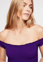 NEW Free People Intimately Smocked Crop Top Ultra Violet Size XS/S & M/L $54.11