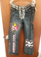 Mens Customized Art Jeans HELIX Boot Cut Zipper Fly SZ 36X31 Punk Rock Star