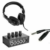 On Stage Stands WH4500 Pro Studio Headphones + Pro Headphone Amplifier + Cable