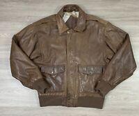 Preston & York Vintage Brown Leather Bomber jacket Size Small