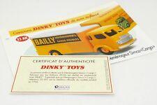 DINKY TOYS ATLAS FICHE & CERTIFICAT / DEMENAGEUR SIMCA CARGO 33AN