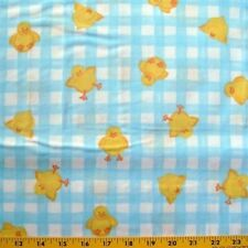 Tumbling Ducks - cute yellow baby duckling on plaid Quilt Cotton Fabric Yardage