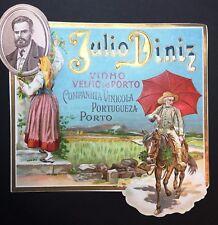 Julio Diniz PORT WINE Vintage Litho gold Label embossed. Vinho do Porto Portugal