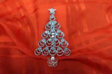 VINTAGE SIGNED BJ B.J. BLUE RHINESTONE & SILVER TONE CHRISTMAS TREE PIN