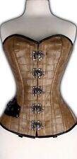 Brown Faux Synthetic Leather Corset Lace up Steel Bones Clasps Full Bust 2XS~7XL