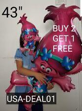 "XL 43"" 😍  Poppy Latex Trolls Foil Troll Balloons Baby shower poppy Toy"