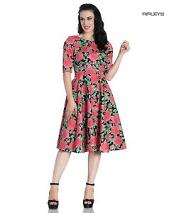 Hell Bunny 40s 50s Black Pin Up Vintage Dress DARCY Pink Roses All Sizes