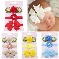 3Pcs Kids Elastic Floral Headband Pearl Hair Girls baby Bowknot Hairband Set